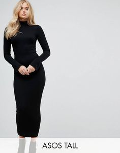 online shopping for ASOS TALL City Maxi Rib Bodycon Dress Turtleneck Frill Cuffs from top store. See new offer for ASOS TALL City Maxi Rib Bodycon Dress Turtleneck Frill Cuffs Asos, Dressy Outfits, Fashion Outfits, Fashion Styles, Black Turtleneck Dress, Hobble Skirt, Clothing For Tall Women, Bodycon Dress Parties, Party Dresses