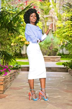 Style Pantry | Striped Off Shoulder Shirt + Pencil Midi Skirt