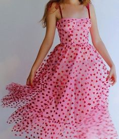 Pink Glitter Heart Tulle Bustier Midi Dress