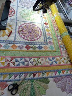 close-up of Happy Daze quilt by Sue Garman