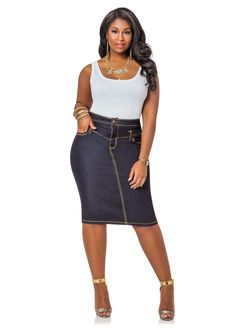 ef832ff1b07 Back Slit Denim Skirt - Ashley Stewart More Denim Skirt Outfits