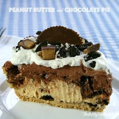 Peanut Butter Cup Chocolate Pie - That's My Home  Copyright 2014 That's My Home #peanutbutterpie