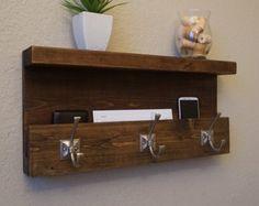 Modern Rustic Entryway Coat Rack Shelf and Mail Phone Key Organizer