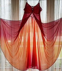 Vintage Flora Ombre Two Tone Sheer Flyaway Front Flowy Chiffon Long Nightgown L | eBay