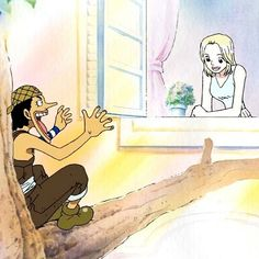 Usopp telling his pirate tales to kaya. I actually ship this, let's be honest here, she was basically kinds of like not official girlfriend to Usopp.