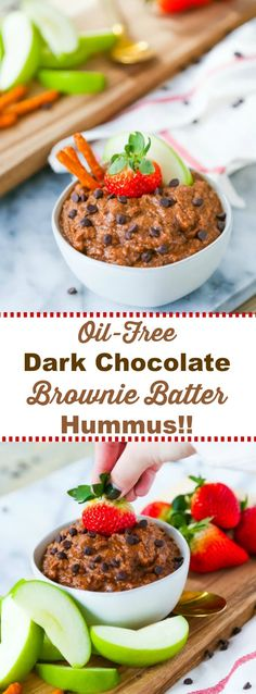 Easy and delicious Oil-Free Dark Chocolate Brownie Batter Dessert Hummus! Made with chickpeas and vegan chocolate chips. #vegan #dessert #oil-free #chickpeas