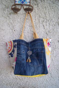Sac cabas en jean et tissu mandala