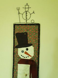 QUILTED HOLIDAY SNOWMAN Tall Narrow Snowman Skinny by AuntiJoJos