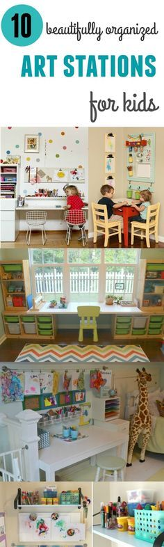 Great ideas for kid art spaces. 10 beautiful organized art stations for kids: Includes 10 different ideas for art tables and art supply storage Kids Art Table, Art Tables, Art Supplies Storage, Playroom Organization, Playroom Ideas, Organization Ideas, Kids Play Area, Play Areas, Art Corner
