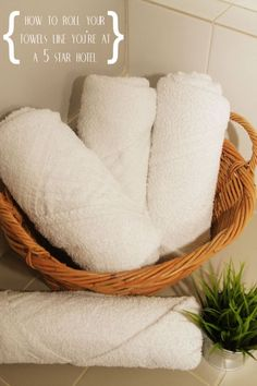 Roll your towels like a 5 star hotel for a relaxing bathroom vignette and Home Staging Tips and Ideas Improve the Value of Your Home on Frugal Coupon Living. - April 14 2019 at