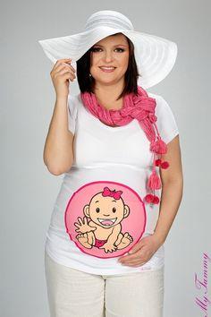 T-shirt ciążowy Dziewczynka dekolt V