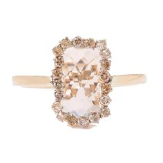 Green Amethyst Ring with Champagne Diamonds