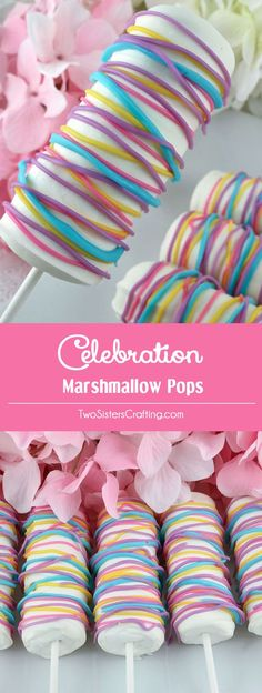 Celebration Marshmallow Pops - a fun Easter dessert that your family will love. Easy to make and super delicious, these white chocolate covered Marshmallow Pops would be a great Spring Treat for this year's Easter celebration, Mother's Day or a Spring Bru Spring Treats, Spring Desserts, Fun Desserts, Easter Desserts, Yellow Candy, Colorful Candy, Pink Candy, Chocolate Covered Marshmallows, Marshmallow Pops