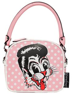 SOURPUSS STRAY CATS PURSE PINK - Strut your stuff in style with this Stray Cats Purse in Pink polka dot! The front and back both feature classic Stray Cats logos so you can wear it either way. Inside you'll find three pockets - two open and one zippered. This also comes with a detachable crossbody strap, making it easy to carry hands free!