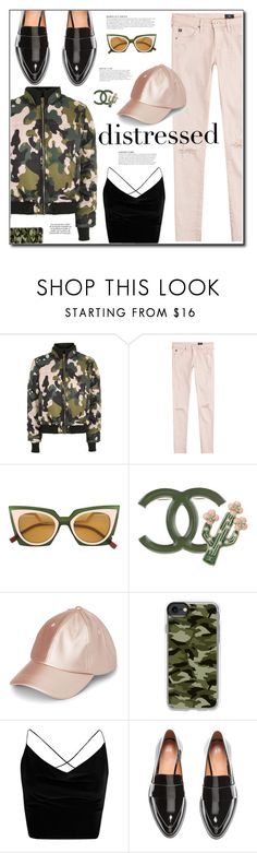 """""""Camo Glam"""" by yummymummystyle ❤ liked on Polyvore featuring Topshop, AG Adriano Goldschmied, Fendi, Chanel, Casetify, Boohoo, KAROLINA, H&M, MyStyle and camo"""