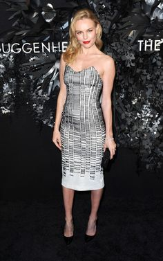 Kate Bosworth in Hugo Boss' ladder-print dress which fit Kate like a glove at the Guggenheim's event for the design house in 2014