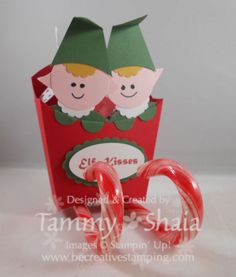 Elf Punch Art Sleigh created using the Big Shot Fry Box and Stampin Up! Punches!