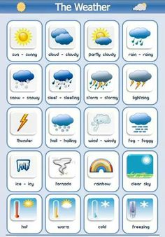 Learn English 399835273139147958 - The different types of weather vocabulary list using pictures and examples of how to use in a sentence English lesson Source by Kids English, English Study, English Writing, Teaching English, English Grammar For Kids, English Activities For Kids, Learning English For Kids, English Lessons For Kids, Weather In English