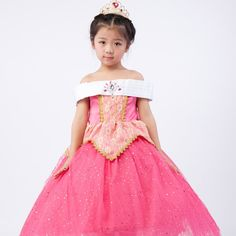 23.37$  Watch now - http://alimei.shopchina.info/1/go.php?t=32810821836 - Princess Performance Sleeping Beauty Aurora Girl Dress Kids Cartoon Aurora Dress Rose Red Girls Tulle Party Dress 4-10 Years  #buyonline
