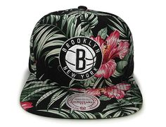 Floral Print Brooklyn Nets Snapback Cap by MITCHELL & NESS
