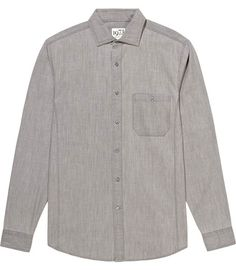 REISS - Pask Long Sleeve Linen Look Shirt - Grey