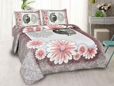 Mayur Vatika Peach King Size Bedsheet Bed Sheet Sizes, King Size Bed Sheets, Double Bed Sheets, Double Beds, Cushion Cover Designs, Cushion Covers, Pillow Covers, Hotel Bed Sheets, Velvet Cushions