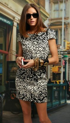 That is is a hot look! notice the leather trim on the shoulder. - Olivia Palermo