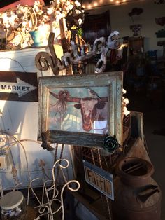 Longhorn pic with vintage breadboard frame made in the Stuffology factory!! LOL