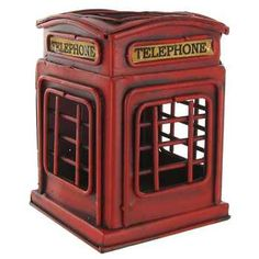 Red Metal Telephone Booth Pen Holder