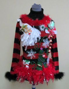 ba33c96d764 Wooza Glam Super Sexy Light up Color changing Bow Tacky Ugly Christmas  Sweater Black   Red Metallic Feather Foo Foo Boa Sz L