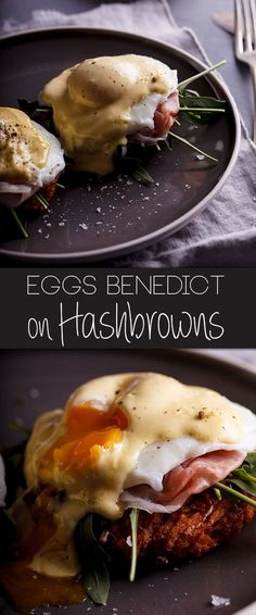 Eggs Benedict on Hash browns - Simply Delicious - A crisp, golden hashbrown is topped with ham, a soft poached egg and delectable hollandaise sauce. Egg Recipes For Breakfast, Breakfast Dishes, Breakfast Time, Best Breakfast, Brunch Recipes, Hashbrown Breakfast, Mexican Breakfast, Breakfast Sandwiches, Breakfast Pizza