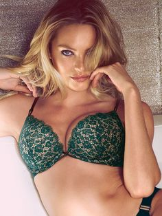 16d5221c58 Add-2-Cups Green Lace Push-Up Bra - Candice Swanepoel Green Lingerie
