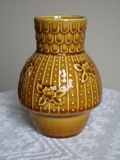 "Vintage 5"" Ceramic Vase Made in Japan - Brown/ Amber Glaze Japanese Modern"