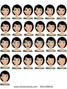 Young woman with twenty five different face expressions.