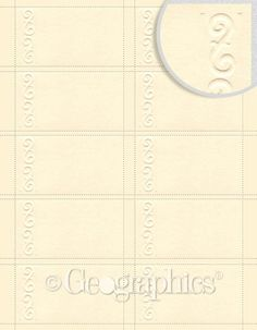 """Geographics Script Embossed Business Cards, Ivory, 2"""" x 3.5"""" 150/pk"""