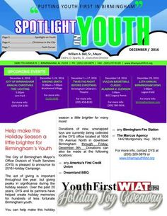 Spotlight on Youth - December 2016  Welcome to the December 2016 issue of DYS' Spotlight on Youth e-Newsletter and the Youth First Event Calendar. This month, DYS highlights its 2016 Holiday Campaign.