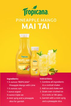 Tropicana® Pineapple Mango with Lime drink, a blend of citrusy and nutty liqueurs, and fresh nutmeg combine for an exotic Mai Tai cocktail recipe. Party Drinks, Cocktail Drinks, Fun Drinks, Cocktail Recipes, Beverages, Cocktails, Martinis, Healthy Drinks, Liquor Drinks