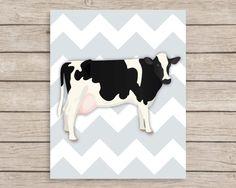 Chevron Cow Art Print Animal Nursery Art Farm by JulesPrintables, $14.00