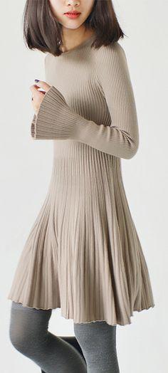 Cream pleated knit tunic dresses tunic elastic knit dress