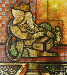 KYNKYNY is an online gallery that showcases a curated selection of original artworks by emerging and established Indian artists at affordable prices. Ganesha Painting, Ganesha Art, Lord Ganesha, Madhubani Art, Indian Artist, Indian Paintings, Cute Drawings, Art Forms, Elephants