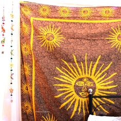 Add a colorful touch to your dorm space or apartment by hanging this Sun tapestry. This trippy tapestry is Handmade from 100% Cotton.The colors used in this wall hanging or Bedspread will match your bedroom decor. Shop this Bohemian tapestry at affordable price. Beautiful Psychedelic tapestry wall hangings is one of the gorgeous piece and from latest tapestry Collection for Bohemian and trendy Home decor.