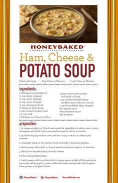 HoneyBaked Ham Cheese & Potato Soup Double recipe used Essence instead of red pepper added Nature's Season instead of S used 3 small potatoes 2 cups broth and milk closer to 2 cups cheese per recipe. Everyone loved it. Ham And Potato Soup, Ham Soup, Cheese Potatoes, Leftover Ham Recipes, Leftovers Recipes, Leftover Honey Baked Ham Recipe, Honey Baked Ham Salad Recipe, Great Recipes, Soup Recipes