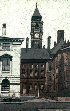Stuart Walton (British, born Leeds Wakefield Town Hall from the Crown Court, 1970 Hepworth Wakefield, Love Illustration, West Yorkshire, Art Uk, Town Hall, The Crown, Your Paintings, Leeds, Big Ben