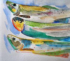 Pesce Fresco Original 10x10 Watercolor Trout Fish Painting $45.00