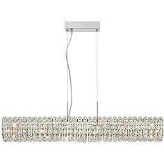 "Possini Euro Design Lieler Chrome 36"" Wide Crystal 6-Light Island... ($500) ❤ liked on Polyvore featuring home, lighting, ceiling lights, chandelier, island light, crystal lamps, rectangular crystal chandelier, crystal chandelier and rectangular chandelier lighting"