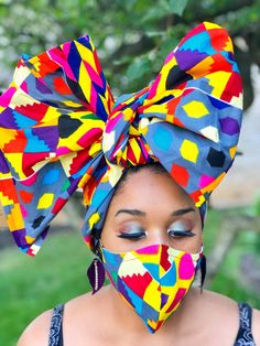 HEADWRAP & FACE MASK set, African Print Face Mask, Ankara Mask, 100% Cotton Reusable Face Mask w/ Filter Pocket, Shaped Mask HWFM2010 Etsy Coupon, Face Mask Set, Masks For Sale, Pattern Cutting, African Fabric, Head Wraps, Trending Outfits, Afrikaans Quotes, Beautiful