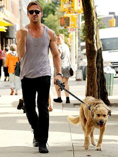 Ryan Gosling,sexy sexy man. Ughhh and that dog!! PRESH