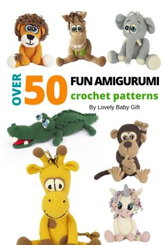 Easy and Fun Amigurumi Animals Crochet Patters. #amigurumi #crochetpatterns #lovelybabygift #crochetanimals Diy Crochet Doll, Crochet For Boys, Crochet Gifts, Crochet Clothes, Crochet Baby, Crochet Toys Patterns, Craft Patterns, Stuffed Toys Patterns, Knitting Patterns