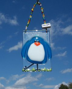 BLuE  BiRd of HaPpiNeSs FuSeD GLaSs SuNcAtCheR or OrNaMeNt in TeaL