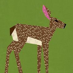 Deer quilt block paper pieced quilt pattern PDF by BubbleStitch